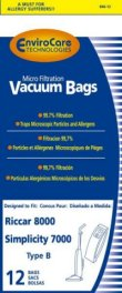 Type B Riccar Vacuum Cleaner Replacement Bag (12 Pack)